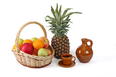 Fruit and young red wine. Good ornament of a table Stock Photography
