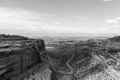 Fruita kanjon i Colorado den nationella monumentet i monokrom arkivbild
