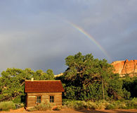 Fruita Schoolhouse with Rainbow Capitol Reef National Park. Historic Fruita Schoolhouse in Capitol Reef National Park under a Rainbow Stock Photos