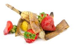 Fruitafval op een witte achtergrond Stock Fotografie