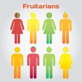 Fruitarians Люди и женщины с плодоовощами вместо голова Стоковые Фотографии RF