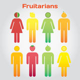 Fruitarians. Men and women with fruits instead the head. Vector modern illustration, stylish design elememt stock illustration