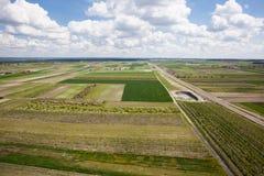 Fruitboomgaard, Poolse boomgaarden, luchtfoto Stock Foto's