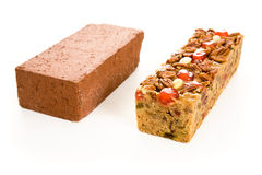 Fruitcake Brick Comparison Royalty Free Stock Photography