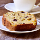 Fruitcake and coffee or tea Stock Photo