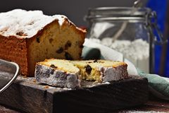 Fruitcake on a cutting board Royalty Free Stock Image