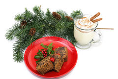 Fruitcake and Eggnog Stock Images