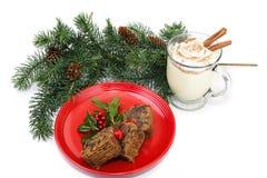 Fruitcake and Eggnog. Christmas fruitcake and eggnog on white background Stock Images