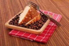 Fruitcake en koffie royalty-vrije stock afbeelding