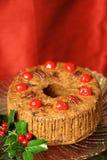 Fruitcake extravagante do feriado imagem de stock