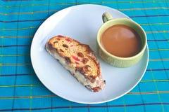 Fruitcake with hot coffee Stock Photo