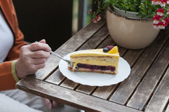 Fruitcake met frambozen en bosbessen Stock Foto's