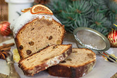 Fruitcake with nuts, raisins, candied fruit and spices. Traditional Spicy Christmas cake Stock Image