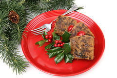 Fruitcake on Red Plate Stock Photo