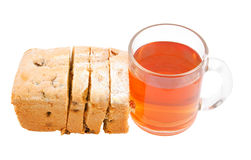 Fruitcake slices and cup of tea Royalty Free Stock Photo