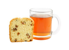 Fruitcake slices and cup of tea isolated Royalty Free Stock Photography