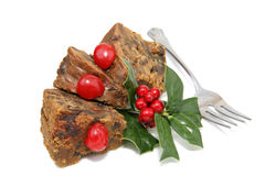 Fruitcake Slices with Fork Royalty Free Stock Photos