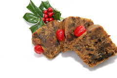 Fruitcake Slices Isolated Stock Images