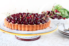 Fruitcake with sweet cherries Royalty Free Stock Photos