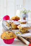 Fruitcakes and milk Royalty Free Stock Photography