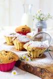 Fruitcakes and milk Stock Photography