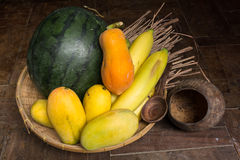 Fruite in the rattan basket Stock Image
