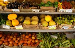 Fruiterer's display. A fruit shop display in Crete. The tags show the names of the various items in Greek stock photography