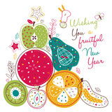 Fruitful new year illustration Stock Image