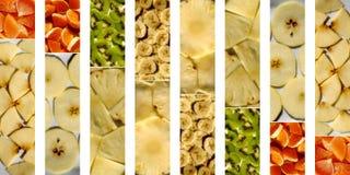 Fruitige die texturen binnen rechthoeken als achtergrond worden geschikt Stock Foto