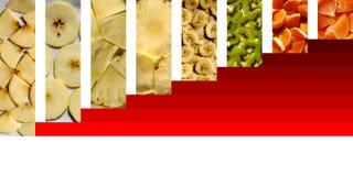 Fruitige die texturen binnen rechthoeken op rode treden worden geplaatst Stock Afbeelding