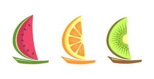 Fruitlike boats floating Royalty Free Stock Images