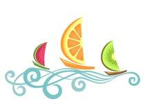 Fruitlike boats floating on the waves Royalty Free Stock Image