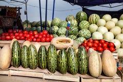 Fruitmarkt in Azië Stock Afbeelding