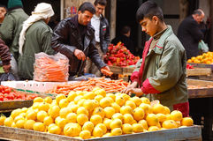 Fruitmarkt in de stad van Aleppo Stock Afbeeldingen