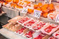 Fruitmarkt in Tokyo Japan op 31 Maart, 2017 Stock Foto