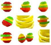 Fruitmengeling. Inzameling en collage. Royalty-vrije Stock Foto's