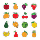 Fruitpictogrammen Stock Afbeelding