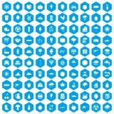 100 fruitpictogrammen geplaatst blauw Stock Fotografie