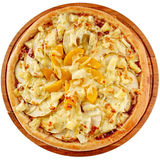 Fruitpizza met ananas, perziken en appelen Royalty-vrije Stock Fotografie