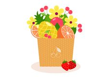 Fruitr and berries bouquet stock illustration