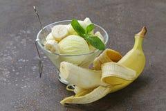 Fruitroomijs met verse banaan Stock Afbeeldingen