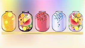 Fruits à l'arrière-plan de pots photographie stock