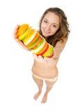 fruits счастливый детеныш женщины портрета удерживания Стоковое Изображение