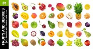 fruits тропическо Различные плоды и ягоды изолированные на белой предпосылке стоковая фотография rf