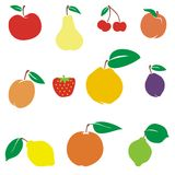 Fruits 01. Vector illustration of different summer fruits Royalty Free Stock Photos