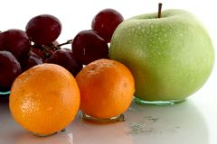 Fruits 01. Ripe wet group of fruits stock images
