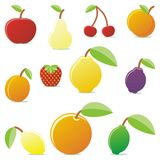 Fruits 02. Vector illustration of different stylized summer fruits Stock Image