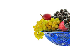 Fruits 02. Bunches of grapes, red apple, plum, vase, drops Stock Photos