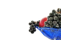 Fruits 03. Bunches of grapes, red apple, vase, drops Royalty Free Stock Photography
