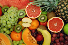 Fruits 09. Set of different fresh fruits. Colorful background Stock Photo